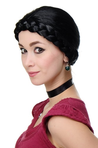 Party/Fancy Dress Wig Women Lady thick braid BLACK traditional German Ukrainian Russian Princess