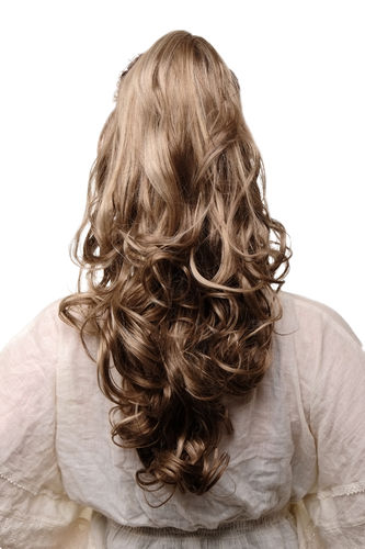 Ponytail Hairpiece extension long volume wavy curled tips claw clamp light brown streaked blond 22""