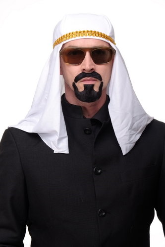 carnival Halloween false beard black mustache and chin beard set Sheik Arab Sinbad MM-018