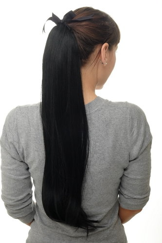 Hairpiece PONYTAIL (comb & ribbon wrap-around system) extension full volume long straight black