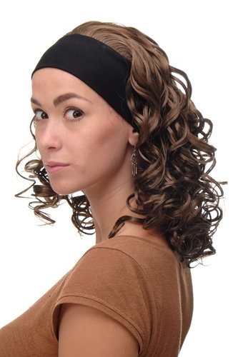 BRO-704-12 Lady Quality Wig fixed black head band shoulder length very voluminous curled brown