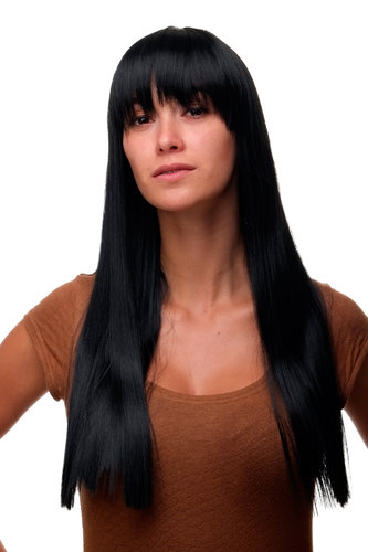 WIG ME UP ® GFW373-1 Sexy Lady Quality Wig long straight fringe bangs deep raven black 23""