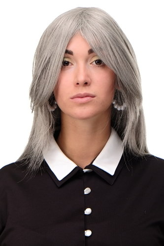 Lady Quality Wig medium length long bangs worn as side parting straight layered silver grey