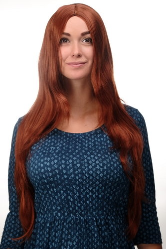 3217-130 Lady Quality Wig Cosplay very long straight middle parting copper red approx 29,5 ""