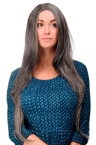 Lady Quality Wig Cosplay very long straight middle parting dark grey brown streaked with silver