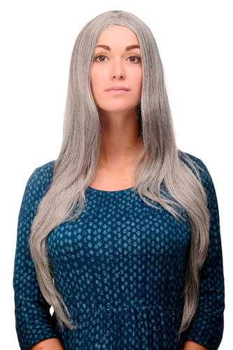 3217-51 Lady Quality Wig Cosplay very long straight middle parting silver grey approx 29,5 ""