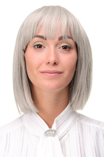 7803-44 Lady Quality Wig short Page Long Bob Longbob fringe bangs silvery grey