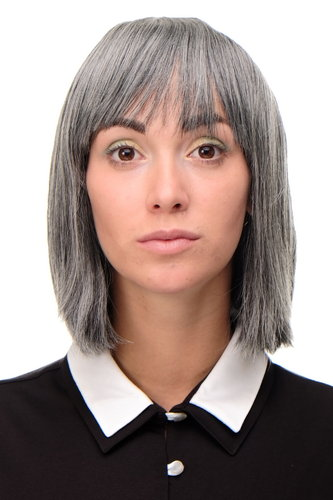 7803-44 Lady Quality Wig short Page Long Bob Longbob fringe bangs dark grey