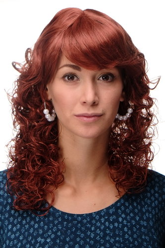 "Incredibly Cute Lady Quality Wig Romantic Curls fringe parted shoulder length copper red 18"" inch"
