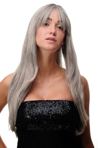 Lady Quality Wig Cosplay very long long bangs fringe can part to side straight silver grey