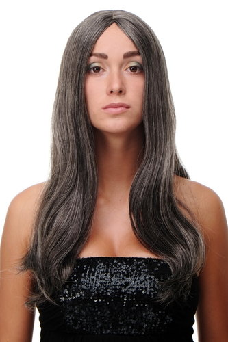 "SA-151-44 Lady Quality Wig long straight beautiful middle parting dark grey old 23"" inch"