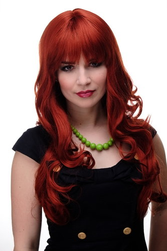 Lady Quality Wig very long beautiful curling ends straight top fringe bangs dark red approx 25""
