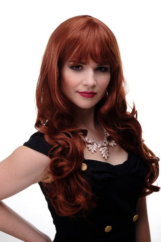Lady Quality Wig very long beautiful curling ends straight top fringe bangs copper red approx 25""