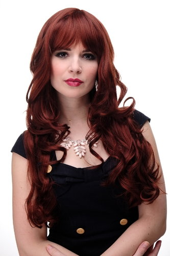 Lady Quality Wig very long curling ends straight top fringe bangs brown red mix redbrown reddish