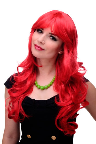 Lady Quality Wig very long beautiful curling ends straight top fringe bangs bright red