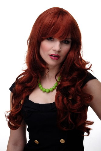Lady Quality Wig very long beautiful curling ends straight top fringe bangs dark copper red
