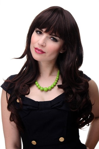 Lady Quality Wig very long beautiful curling ends straight top fringe bangs mahogany mixed brown