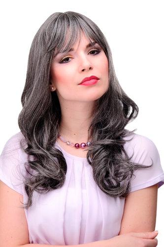 3001-44 Lady Quality Cosplay Wig very long beautiful curling ends fringe bangs dark grey approx 21""
