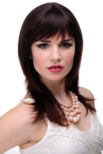 Lady Quality Wig mediumlength naugthy long bangs (can part to side) straight layered mahogany brown