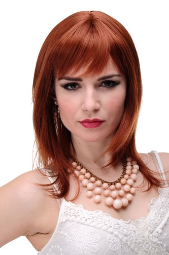 Lady Quality Wig medium length naugthy long bangs (can part to side) straight layered copper red