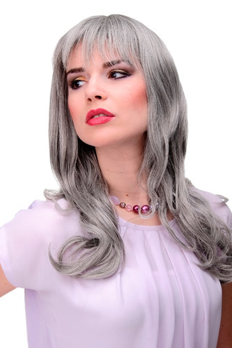 Lady Quality Cosplay Wig very long beautiful curling ends fringe bangs silver silvery grey