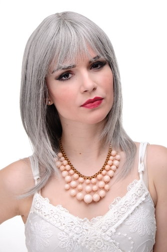 Lady Quality Wig medium length naugthy long bangs (can part to side) straight layered silvery grey