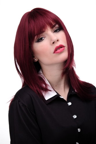 Lady Quality Wig long mediumlength naugthy long bangs (can part to side) straight layered aubergine