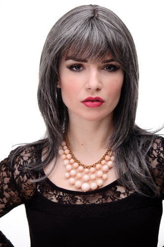 Lady Quality Wig medium length naugthy long bangs (can part to side) straight layered medium grey