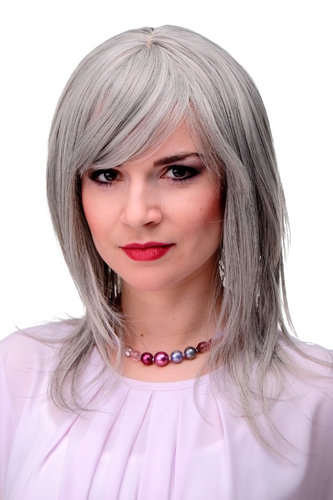 Lady Quality Wig long straight slight wave fringe bangs (can part to side or in middle) silver grey