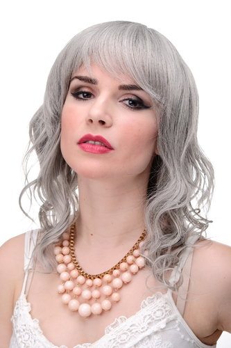 Lady Quality Wig wavy slightly stringy wet look fringe bangs (can part to side or middle) grey