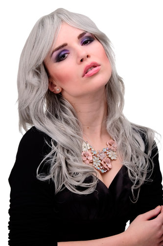 9669-51 Lady Quality Wig ong wavy and curly ends long fringe (for side parting) silver grey 22""