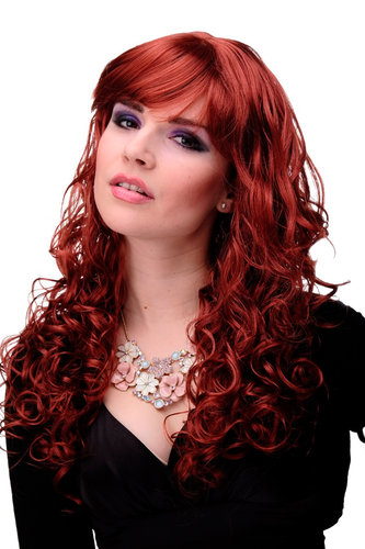 "M-103-135 Lady Quality Wig very long curly curled slightly stringy wetlook fringe dark red 23"" inch"