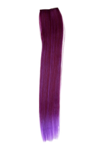 1 x Two Clip Clip-In extension strand highlight straight long red violet mix
