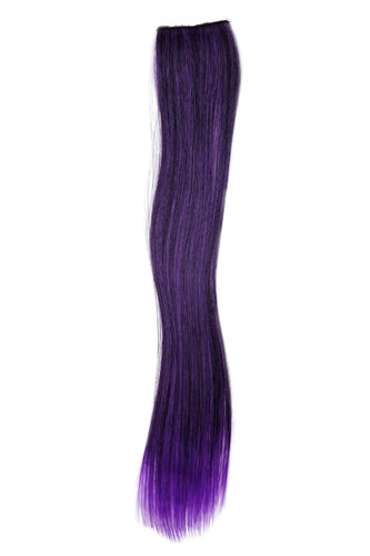 1 x Two Clip Clip-In extension strand highlight straight long black purple mix