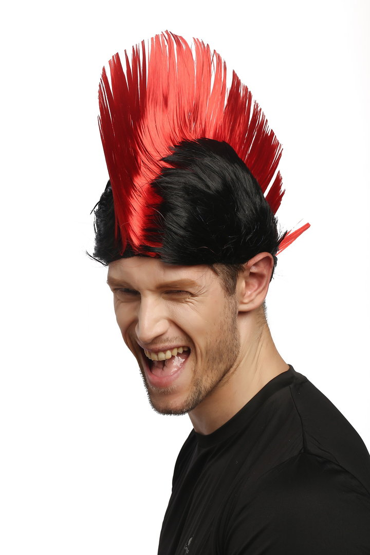 XR-012-P103//PC13 Wig Ladies Men Halloween Carnival black red spiky mohawk Punk 70s 80s WIG ME UP