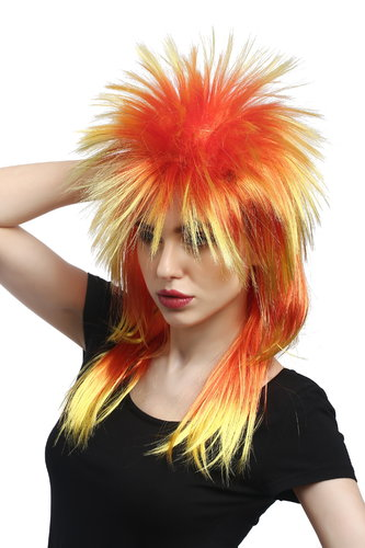 Wig Ladies Men Halloween Carnival 80s Glam Punk Wave Pop mullet with spiky hair yellow red