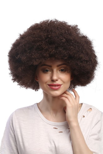 WIG ME UP ® - XR-002-P4 XXL Afro curly Party Wig Halloween massive volume dark brown