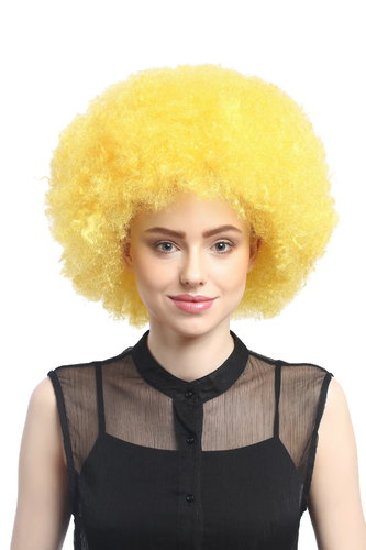 WIG ME UP ® - XR-002-PC2B XXL Afro curly Party Wig Halloween massive volume yellow