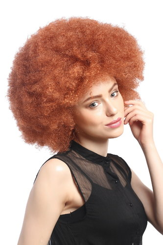 WIG ME UP ® - XR-002-P130 XXL Afro curly Party Wig Halloween massive volume copper rust red