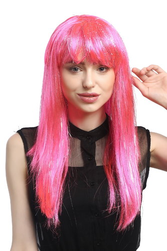 XR-003-PC5 Lady Party Wig Halloween long straight bangs streaked with silver tinsel strands pink