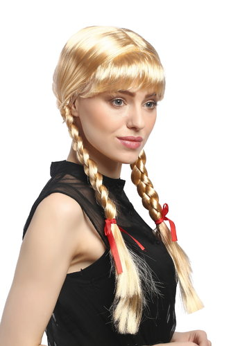 Lady Party Wig Halloween Lolita schoolgirl long braided plaits with ribbons fringe blond 23""