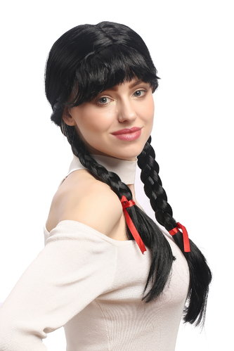 Lady Party Wig Halloween Lolita schoolgirl long braided plaits with ribbons fringe black 23""