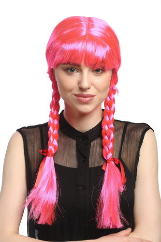 Lady Party Wig Halloween Lolita schoolgirl long braided plaits with ribbons fringe pink 23""