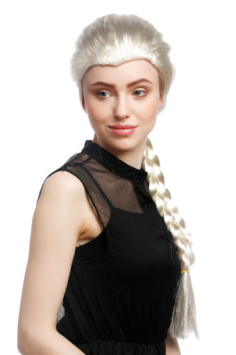Lady Party Wig Halloween platinum blond back-combed long hair braided long plait ponytail Princess
