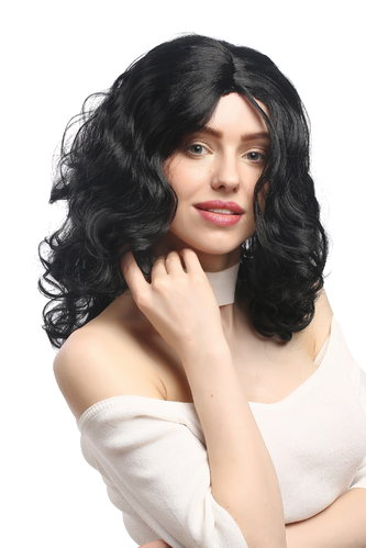 Lady Party Wig Halloween Fancy Dress long very voluminous curly curls middle-parting black 20""
