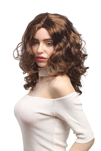 Lady Party Wig Halloween Fancy Dress long very voluminous curly curls middle-parting brown 20""