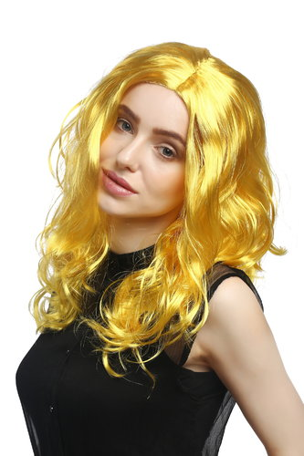 Lady Party Wig Halloween Fancy Dress long very voluminous curly curls middle-parting yellow 20""
