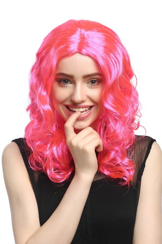 Lady Party Wig Halloween Fancy Dress long very voluminous curly curls middle-parting pink 20""