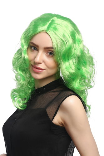 Lady Party Wig Halloween Fancy Dress long very voluminous curly curls middle-parting green 20""