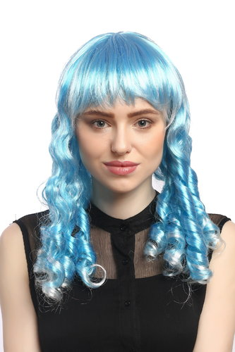 Lady Party Wig Gothic long baroque colonial romantic corkscrew curls coils light blue white mix
